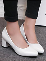 cheap -Women's Shoes PU Spring Summer Comfort Heels Chunky Heel Pointed Toe Closed Toe for Casual Pink Black White