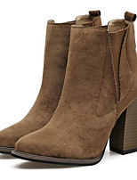 cheap -Women's Shoes Suede Spring Fall Comfort Fashion Boots Boots Chunky Heel Mid-Calf Boots for Casual Khaki Black