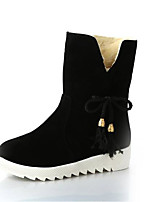 cheap -Women's Shoes Fleece Winter Fall Snow Boots Boots Flat Heel Round Toe Mid-Calf Boots for Casual Khaki Red Black