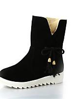 Недорогие -Для женщин Обувь Флис Зима Осень Зимние сапоги Ботинки На плоской подошве Круглый носок Сапоги до середины икры для Повседневные Черный