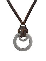 cheap -Men's Circle Vintage Basic Pendant Necklace , Leather Alloy Pendant Necklace , Daily Street