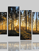 Недорогие -Холст для печати Классика Деревня Modern,4 панели Холст Горизонтальная С картинкой Декор стены Украшение дома
