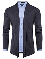 cheap -Men's Daily Casual Regular Cardigan,Solid Shirt Collar Long Sleeves Polyester Spandex Winter Fall Thick Micro-elastic