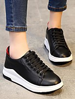 cheap -Women's Shoes Real Leather Spring Fall Comfort Sneakers Flat for Casual White Black