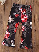 economico -Pantaloni Da ragazza Cotone Poliestere Fantasia floreale Classico Autunno Quattro stagioni Romantico Attivo Nero Rosso