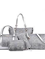 cheap -Women Bags PU Bag Set 6 Pieces Purse Set Ruffles Zipper for Office & Career All Season Brown Red Black White