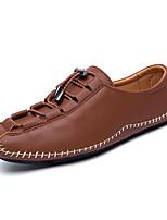Недорогие -Для мужчин обувь Полиуретан Весна Осень Удобная обувь Туфли на шнуровке Ленты для Повседневные Черный Коричневый Серебряный Красный