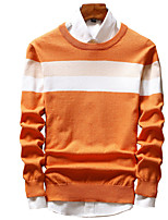 cheap -Men's Daily Work Casual Active Street chic Regular Pullover,Solid Striped Print Round Neck Long Sleeves Polyester Spandex Japanese Cotton