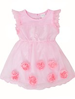 cheap -Girl's Birthday Daily Solid Flower/Floral Dress,Cotton Summer Short Sleeves Cute Princess Blushing Pink