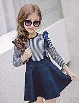 cheap -Girls' Striped Clothing Set,Cotton Polyester Spring Fall Simple Navy Blue