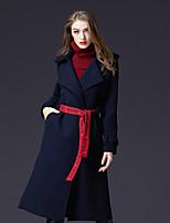 Недорогие -Для женщин Праздники На каждый день Зима Пальто Рубашечный воротник,Простой Активный Однотонный Длинная Длинные рукава,Искусственный шёлк