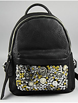 Women Bags PVC leatherette School Bag Beading Zipper for Casual All Season Light Gray Black