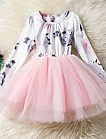 cheap -Girl's Daily Going out Solid Floral Print Dress,Cotton Polyester Spring Fall Long Sleeves Cute Princess Blushing Pink Gray