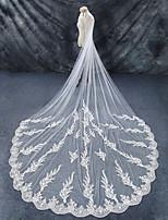 baratos -Uma Camada Borda com aplicação de Renda Casamento Véus de Noiva Véu Capela Véu Catedral Com Rendas Renda Tule