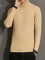 cheap -Men's Casual/Daily Simple Regular Pullover,Solid Turtleneck Long Sleeves Polyester Winter Fall Thick Micro-elastic