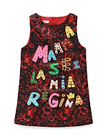 Girl's Casual/Daily Print Dress,Polyester Winter Fall Sleeveless Simple Green Red Light Blue