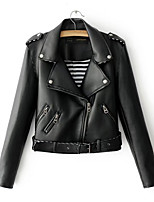 cheap -Women's Daily Vintage Fall Leather Jacket,Solid V Neck Long Sleeve Short PU Oversized