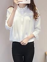 preiswerte -Damen Solide Freizeit Alltag T-shirt,Rundhalsausschnitt Ganzjährig Langärmelige Polyester Undurchsichtig