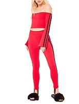 Women's Going out Club Simple Sexy Spring/Fall Set Pant Suits,Striped Color Block Boat Neck Long Sleeves Backless Sexy Slim Polyester