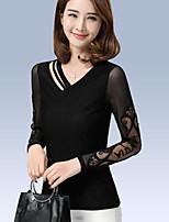 preiswerte -Damen Solide Freizeit Alltag Hemd,V-Ausschnitt Langärmelige Polyester