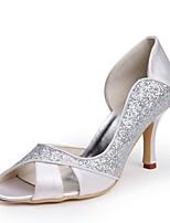 preiswerte -Damen Schuhe Paillette Seide Frühling Sommer Pumps Hochzeit Schuhe Stöckelabsatz Peep Toe Applikation für Hochzeit Party & Festivität Weiß