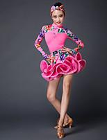 abordables -Baile Latino Accesorios Niños Actuación Hilo Elástico Mangas largas Cintura Media Faldas Tops