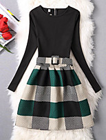 cheap -Girl's Daily Going out Solid Grid/Plaid Checks Dress,Cotton Polyester Winter Fall Long Sleeves Vintage Cute Princess Green
