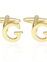 cheap -Letter Golden Cufflinks Copper Simple Basic Daily Formal Men's Costume Jewelry