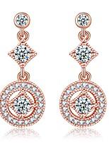 abordables -Mujer Pendientes colgantes Zirconia Cúbica Cristal Clásico Elegant Chapado en Oro Diamante Sintético Gota Joyas Boda Fiesta de Noche