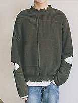preiswerte -Herren Standard Pullover-Lässig/Alltäglich Einfach Solide Rundhalsausschnitt Langarm Polyester Herbst Dünn Dehnbar