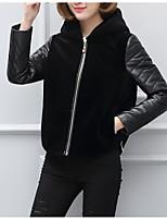 cheap -Women's Casual/Daily Simple Winter Fall Fur Coat,Solid Hooded Long Sleeve Short Faux Fur Fur Trim