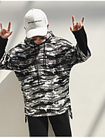 cheap -Men's Going out Casual/Daily Hoodie Camouflage Hooded Micro-elastic Polyester Long Sleeve Spring/Fall