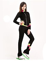 cheap -Figure Skating Top Women's Kid's Ice Skating Pants / Trousers Tracksuit Top Pink Green Yellow Spandex Stretchy Solid Performance Practise