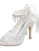 preiswerte -Damen Schuhe Stretch - Satin Sommer Pumps Hochzeit Schuhe Stöckelabsatz Peep Toe Kristall für Kleid Party & Festivität Elfenbein