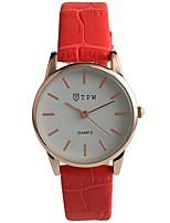 Недорогие -Жен. Модные часы Японский Кварцевый Защита от влаги Повседневные часы Натуральная кожа Группа На каждый день Красный Темно-синий