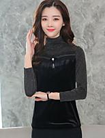 economico -T-shirt Da donna Per uscire Casual Vintage Inverno Autunno,Monocolore Girocollo Poliestere Maniche lunghe Spesso