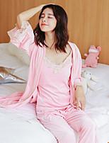 Costumes Pyjamas Femme,Sexy Solide Cachemire Bleu Rouge Rose Claire