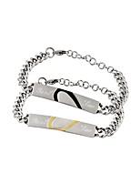 cheap -Men's Women's Charm Bracelet , Metallic Heart Stainless Steel Geometric Jewelry Gift Valentine