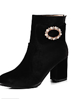 cheap -Women's Shoes Leatherette Winter Fashion Boots Boots Chunky Heel Round Toe Booties/Ankle Boots Imitation Pearl Sparkling Glitter for