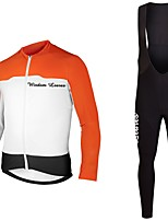 cheap -Cycling Jersey with Bib Tights Unisex Long Sleeves Bike Jersey Clothing Suits Bike Wear Fast Dry Geometric Cycling / Bike Dark Blue Orange