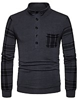 cheap -Men's Daily Casual Regular Pullover,Plaid Stand Long Sleeves Polyester Spandex Winter Fall Thick Micro-elastic