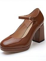 preiswerte -Damen Schuhe PU Frühling Sommer Mary Jane High Heels Blockabsatz Quadratischer Zeh für Normal Kleid Schwarz Beige Khaki