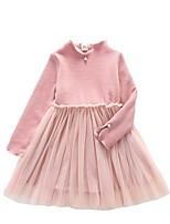 Robe Fille de Décontracté / Quotidien Couleur Pleine Polyester Hiver Automne Manches Longues simple Rouge Rose Claire