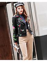 cheap -Women's Daily Casual Winter Fall Leather Jacket,Print Shirt Collar Long Sleeve Short PU