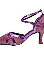 cheap -Women's Modern Sparkling Glitter Sandal Indoor Customized Heel Purple Gray Silver Black Gold / Customizable