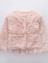 cheap -Girls' Solid Jacket & Coat Long Sleeve Blushing Pink Beige Light Green