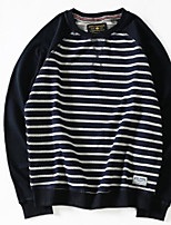 cheap -Men's Petite Casual/Daily Simple Sweatshirt Striped Round Neck Without Lining Micro-elastic Cotton Long Sleeve Fall