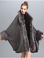 Women's Casual/Daily Simple Winter Fall Fur Coat,Solid V Neck Long Sleeve Regular Faux Fur Fur Trim