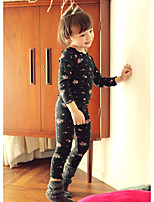 cheap -Girls' Print Clothing Set,Cotton Winter Fall Long Sleeve Cute Black Blushing Pink