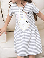 Girl's Going out Casual/Daily Striped Animal Print Dress,Cotton Summer Short Sleeves Street chic Gray